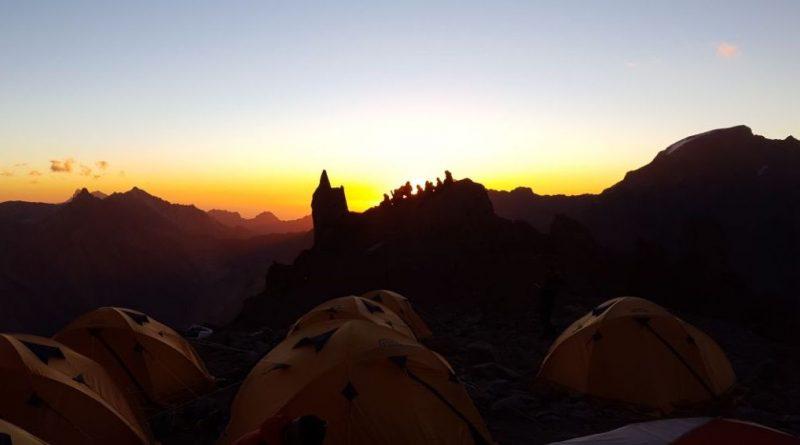 SummitClimb 2018 Aconcagua Team, Abendstimmung mit Sonnenuntergang beim Canada Camp 1