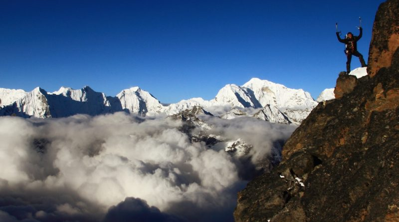 Climb in the Himalayan mountains of Nepal near Cho Oyu and Mount Everest