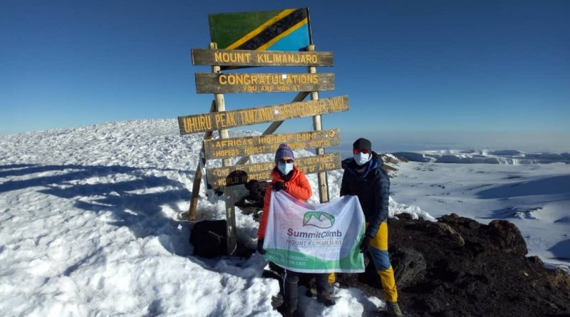 Kilimanjaro, Summit 2020, 2 Mountaineers, Masks.