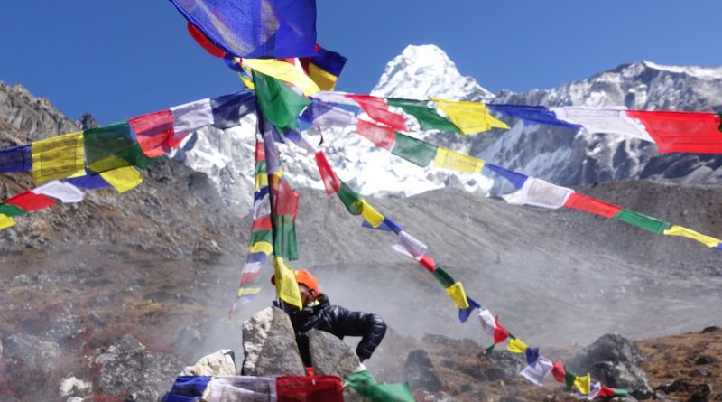 Flags in Ama Dablam BaseCamp, Nepal, Expeditions 2021