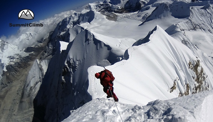 Summit-Baruntse-Belay-down-from-the-Summit